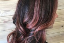 05 black wavy hair with rose gold and pink balayage