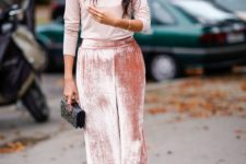 06 a blush turtleneck and pink velvet pants plus a mini bag is a cute and girlish look