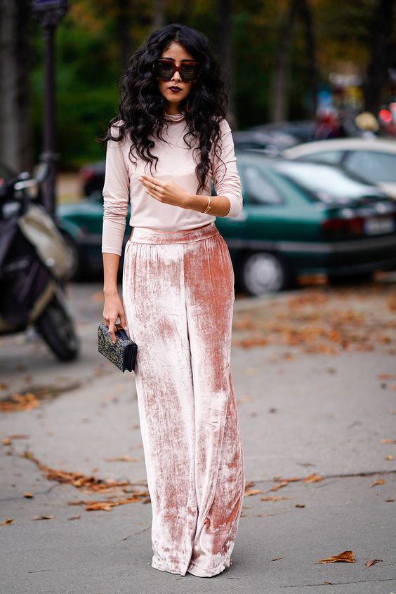 a blush turtleneck and pink velvet pants plus a mini bag is a cute and girlish look