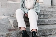 06 a grey turtleneck sweater, a white denim overal and grunge black boots