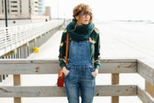 06 a printed turtleneck, a denim overall, amber boots, bag and an infinity scarf