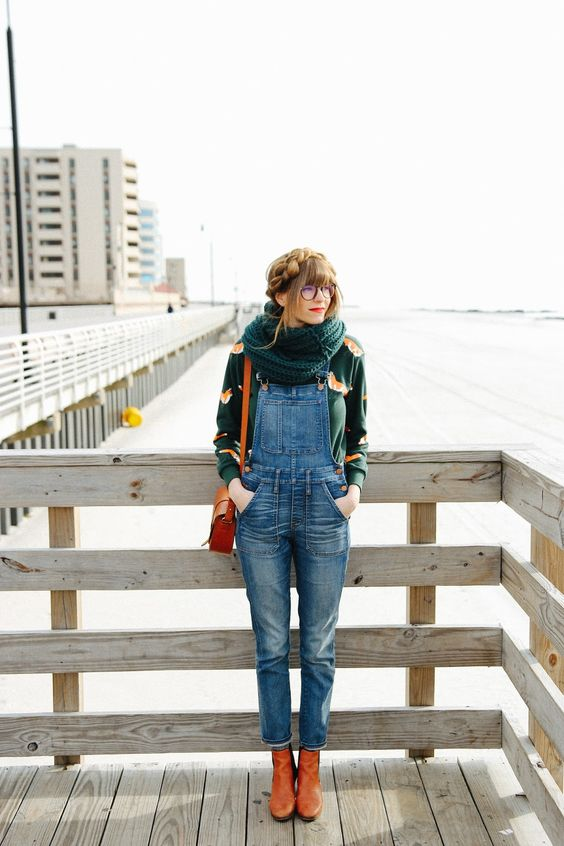 a printed turtleneck, a denim overall, amber boots, bag and an infinity scarf