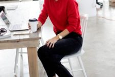 06 a red cashmere sweater, black cropped jeans, red heels for a Friday look at work