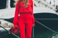 stylish red outfit with a sweater