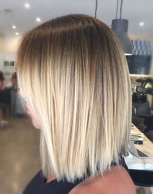 a short blonde bob with a daker root for a stylish look