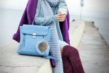 06 an ultraviolet coat, a powder blue beanie, scarf, tall burgundy boots and a light blue bag