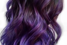 06 black hair with purple to ultraviolet balayage is a bold and trendy idea