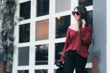 06 black skinnies, black chelsea boots, a red one shoulder sweater