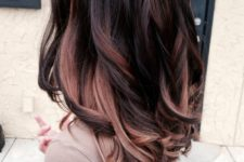 06 dark plum hair with some rose gold and chestnut highlights