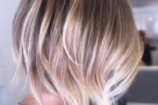 06 short shaggy bob haircut with a brown base and blonde balayage to make the look bolder