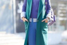 07 a color block look with blue pants, an ultraviolet jumper, a shirt and a sleeveless reen coat