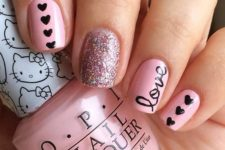 07 a pink manicure with glitter, little black hearts and LOVE letters