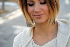 07 a short asymmetrical bob, dark brown roots and blonde ombre