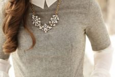 07 a white long sleeve shirt, a grey tweed dress and a statement necklace
