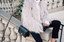 07 black cropped pants, a white sweater, a fuzzy faux fur coat and pink sneakers