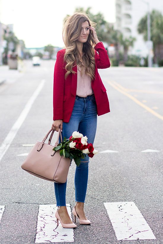 blue skinnies, a pink shirt, a fuchsia jacket and blush shoes