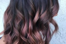 07 rose gold and plum balayage on black roots