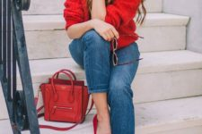 08 a red chunky knit sweater, cropped jeans, fuchsia flats and a red bag