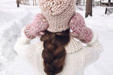 08 a super thick oversized braid is comfy to wear with a hat or a beanie