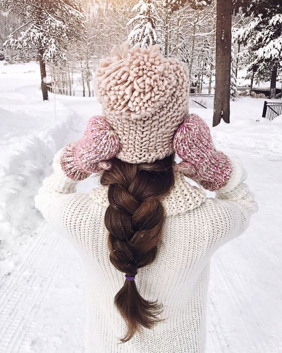 a super thick oversized braid is comfy to wear with a hat or a beanie