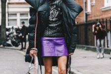 08 a ultraviolet leather mini skirt, an oversized puffed coat, lacked boots for a trendy winter outfit