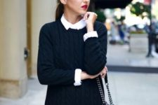08 a white shirt with a black cable knit swetaer dress is all you need to feel comfy