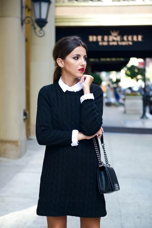 a white shirt with a black cable knit swetaer dress is all you need to feel comfy