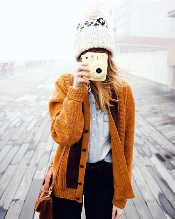 black jeans, a chambray shirt, a comfy warm mustard knitted cardigan and a beanie