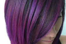 08 short sleek bob haircut with purple and fuchsia balayage is a trendy way to stand out