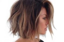 09 a brown short bob with brown balayage highlights and beachy waves for a trendy look