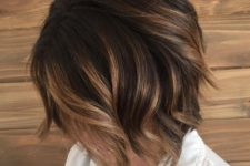 09 a caramel brunette balayage bob with dark smudge root looks super chic