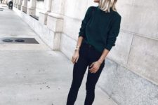 09 a dark green sweaterm black skinnies, neutral chelsea boots
