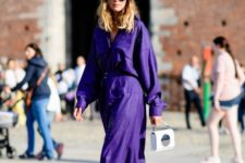 09 an ultraviolet midi shirt dress with rhinestones and black strappy heels for a special occasion
