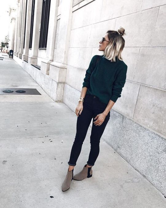 black cropped skinnies, a dark green sweater, neutral chelsea boots for a simple look