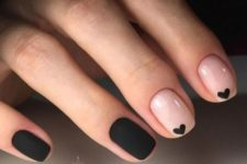 09 blush nails with little black hearts and matte black nails for an elegant look