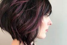 09 short angled bob and dark purple balayage highlights on black hair looks wow