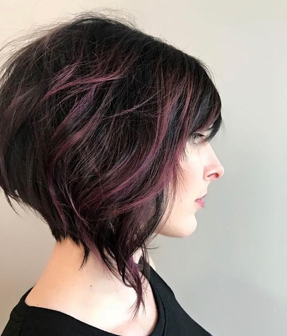 Picture Of Short Angled Bob And Dark Purple Balayage Highlights On
