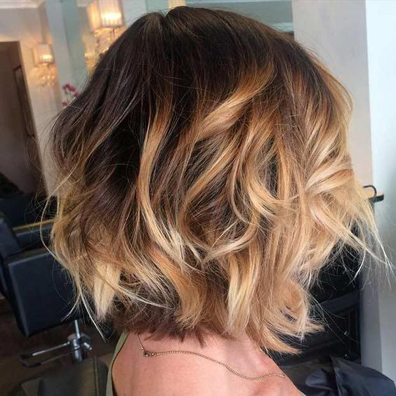 Picture Of A Brown Bob With Golden Caramel Balayage Highlights And