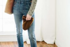 10 a chunky knit sweater, a denim overall, cognac boots, a matching beanie and bag