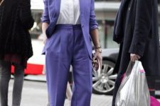 10 an ultraviolet pantsuit with a white shirt can be a nice bold idea for work