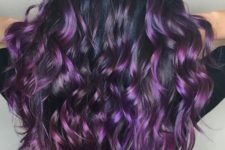 10 long dark brown wavy hair with purple and fuchsia lowlights and highlights for a glosisng effect