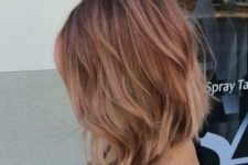 11 a textured bob with fair hair and rose gold balayage for a colorful touch