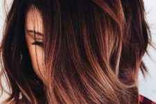11 black roots with burgundy and fiery red balayage is great for those who want some color
