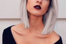11 black roots with silver grey ombre hair looks super contrasting