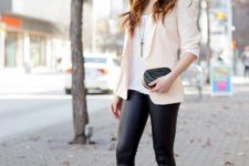 11 leather leggings, black heels, a white top and a blush blazer for a glam look