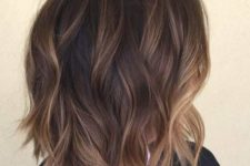 11 shaggy brown bob with subtle bronde balayage highlights for a dimension