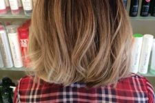 12 a brown bob with bronde balayage is a cute idea to add texture to your hair