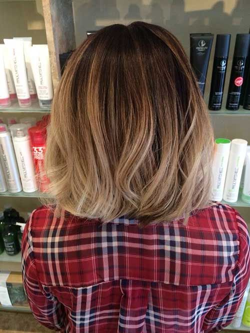 a brown bob with bronde balayage is a cute idea to add texture to your hair