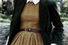 12 a mustard-colored sweater dress, a white shirt, a dark green velvet blazer