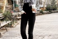 12 a striped top, a black overall, snow boots and a comfy cashmere scarf